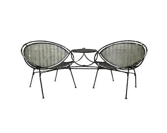 Vintage Mid Century Modern Salterini Wrought Iron Patio Tete a Tete Table & Chairs