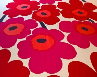 Marimekko Big UNIKKO Reds on White 100% Cotton Fabric Maija Isola Design BTY!