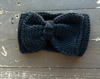 Black Knitted bow headband