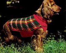 Crochet Dog's Coat ... Tartan Dog Coat ... PDF Crochet Pattern ... Plaid Winter Coat ... A Special Coat For A Special Friend