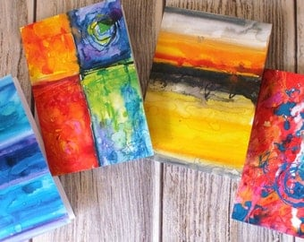 4 set Abstract greetings cards watercolour & inks, prints from original paintings, colourful art cards blank inside, pack of four, envelopes