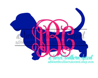 Monogram Basset Hound Decal for car, laptop, cup, cell phone, Yeti, iphone, notebook, tumbler, boots, rambler, cooler