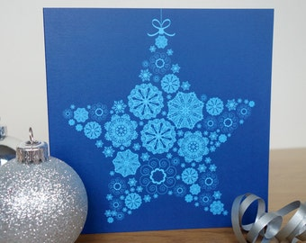Snowflake Star Christmas Card pack of 4