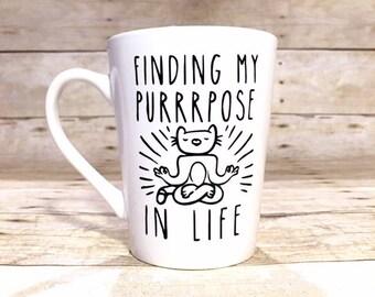 Meditating Yoga Cat Coffee Mug