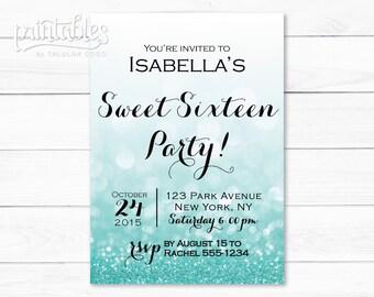 Sweet Sixteen Invitation Template, Digital Sweet 16 Invitation Turquoise, Quinceanera Invitation Printable, Glitter Sweet 16 Invitations DIY