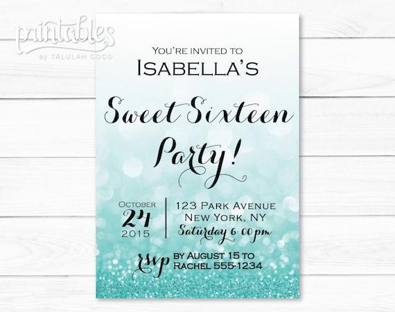 sweet sixteen invitation template digital sweet 16 invitation