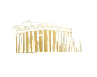 Parthenon in Greece in Gold Foil Art (8x10 or 5x7)