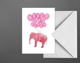 Postkarte Never / Elephant, Fly, Give up, Card, Postcard, Greeting Card, Envelope, Present, Message, Letter