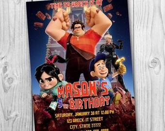 DIGITAL FILE - Wreck It Ralph Invitation - Wreck It Ralph Birthday Party Invitation - Wreck It Ralph Printables - Ralph Invitation