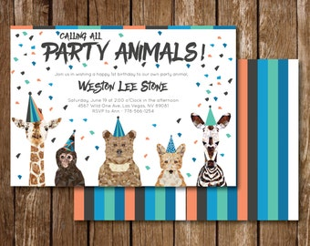 Calling All Party Animals Birthday Invitation