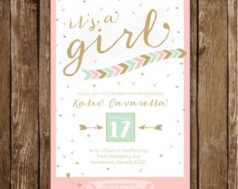 It's a Girl Baby Shower Invite - Pink, Mint, Gold, White - Arrows