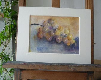 Original watercolor: red grape cluster.