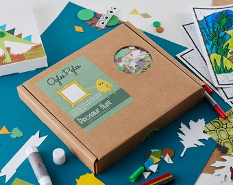 Dinosaur Hunt, a story telling craft kit for creative kids.  Colour in the story and make your own canvas creation