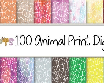 100 Animal Print digital papers