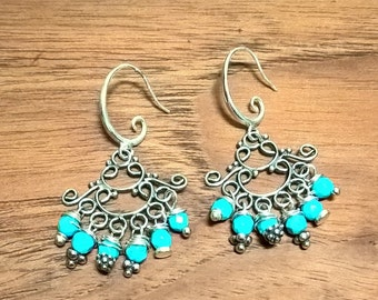Raindrops Sterling Silver Blue Howlite Chandelier Earrings