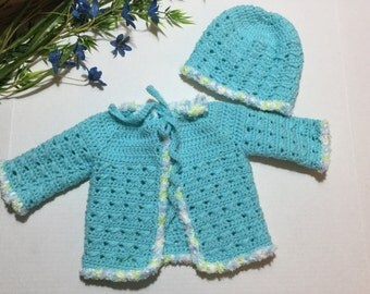 Crocheted Baby Sweater & Hat Set