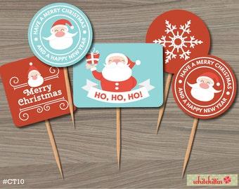 Merry Christmas Cupcake Toppers - Santa Claus, Elf, Rudolph Reindeer, Penguin (DIY Printables)