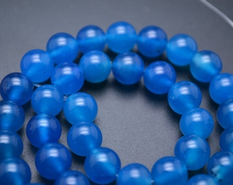 Beautiful Blue Agate Smooth Stone Round Loose Beads 2mm 3mm 4mm 6mm 8mm 10mm