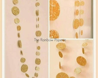DOUBLE SIDED Gold Glitter Circles Paper Garland, Christmas, Wedding, Birthday