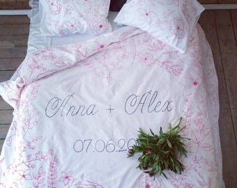 Personalized wedding bedding set, king queen size, wedding gift idea Duvet cover, flowers for couple for him and fer newlywed marriage gift