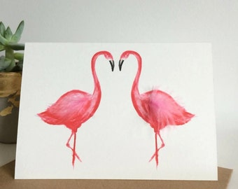 Flamingos in Love Card - 100% Recycled Card - Anniversary card - Wedding card