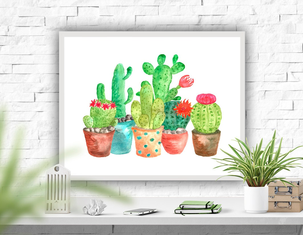 Cactus Print Wall Decor Watercolor Art Print Cactuses