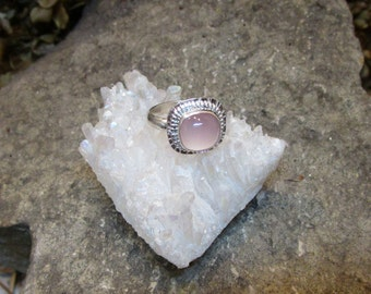 BG-015 ring Silver 925 (sterling) and fine silver with a pink chalcedony Transport free stone