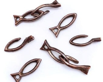 Hook clasp 25 mm, 4 pieces, fish, hooks, jewelry, copper, closure
