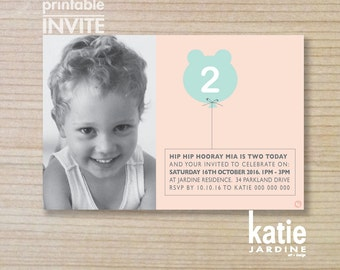 girls invitation - kids invitation  - printable invitation - bear balloon - purple - pink - PHOTO