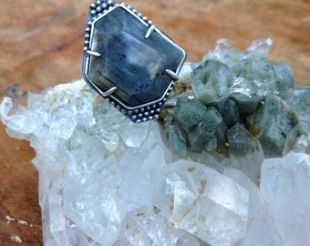 Grey Ice Water. Faceted Labradorite Ring