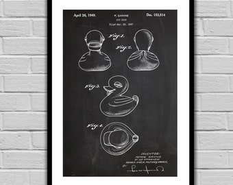 Rubber Duck Patent, Toy Duck Poster, Rubber Duck Blueprint, Rubber Duck Print, Rubber Duck Art, Rubber Duck Decor