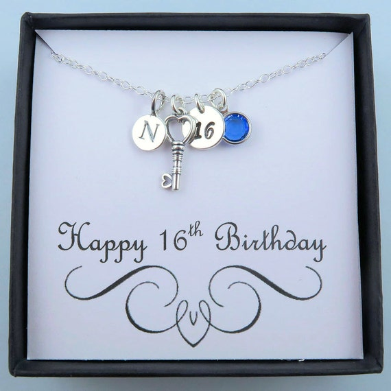 Personalized 16th Birthday Necklace With Message Card 16th