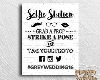 Selfie Station Sign, Wedding Hashtag Printable, Custom Hashtag Sign, Digital File