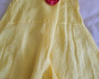 Beautiful Lemon Yellow Linen 1920's Flapper/Lingerie Tap Pants