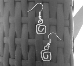 Hammered Square Spiral Earrings