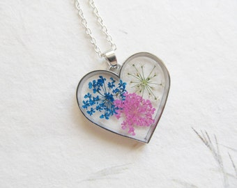 real flower necklace, flower necklace, botanical necklace