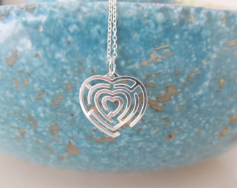 Sterling silver heart necklace, maze necklace, heart necklace