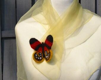 Hand Felt brooch butterfly eco ornament  wool brooch handmade
