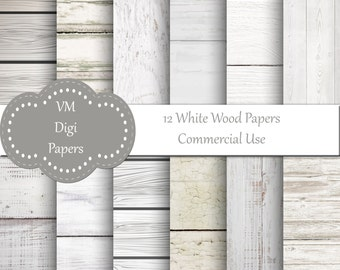 White Wood Digital Paper with different wood textures.