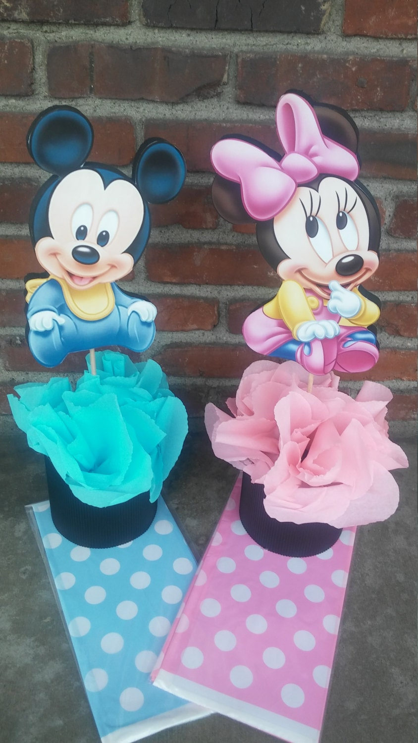 Disney baby mickey mouse or minnie mouse centerpiece birthday for Baby mickey decoration ideas
