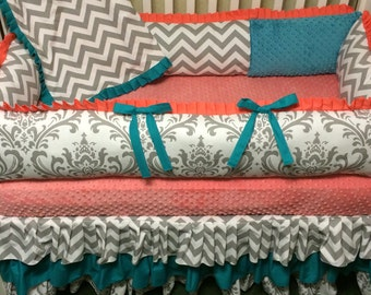 Custom Baby Bedding- 4 pc Coral, Teal and Gray Damask and chevron- Baby Girl Bedding