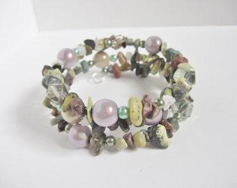 Serpentine and Leopard Skin Mix Stacked Memory Wire Bracelet; Gemstone Bracelet