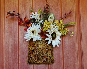Wall or Door Hanger Floral Arrangement, Mums, Berries, Daisies, Sunflower in Tin Container
