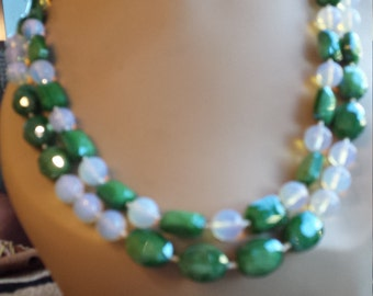 Two strand beaded faceted opulite and artist glass faceted beads