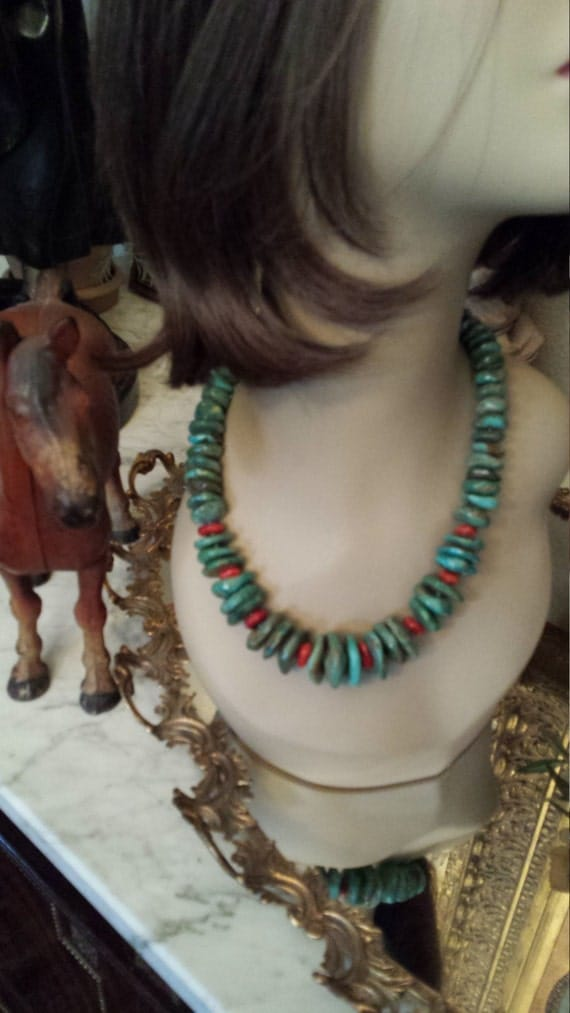 Natural greenish blue turquoise round flat beaded necklace with a touch of coral