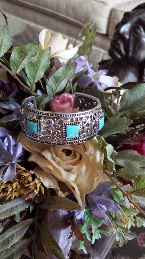 Sterling silver turquoise ornate cuff bracelet