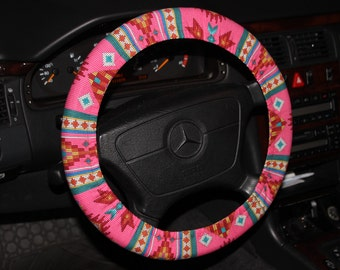 Pink Teal Aztec Steering Wheel Cover - Tribal Wheel Cover - Mother's Day Gift Idea - Hostess Gift Idea -