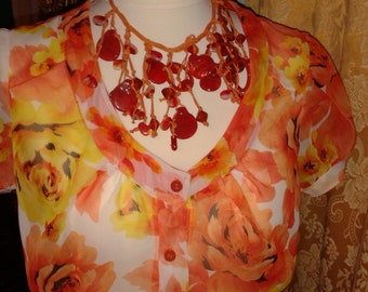 Silk blouse with floral design FantasyStyle-made in Italy. Silk blouses with floral FantasyStyle-made in Italy-