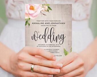 Floral Wedding Invitation Printable, Rustic Wedding Invitation, Wood Wedding Invitation, Invitation Template, PDF Instant Download #BPB315_1