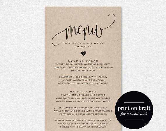 Beautiful Rustic Wedding Menu, Wedding Menu Template, Menu Cards, Menu Printable,  Rustic Wedding, Wedding Dinner Menu, PDF Instant Download #BPB203_4  Formal Dinner Menu Template